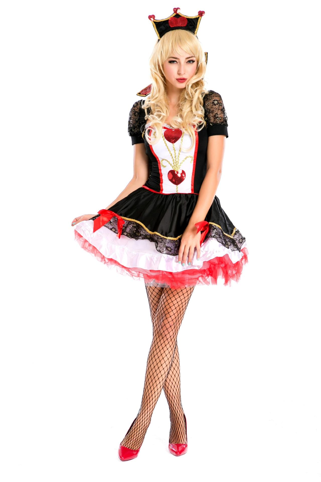 Halloween Ladies Red Queen Cosplay Costume Dress Alice in wonderland Fancy Party Carnival