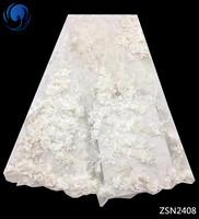 BEAUTIFICAL lace appliques 3d 2018 white laces fabric french white wedding lace fabric 5 yards/lot flower fabric pattern ZSN24
