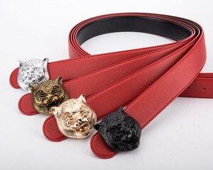 Image 2 - Ремень с головой тигра мужской, кожаный пояс в Западном ковбойском стиле, металлическая пряжка, подарок для мужчин