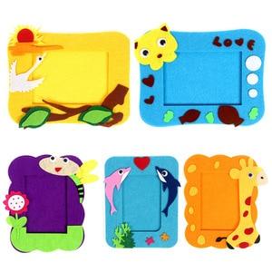 1 Pcs Cartoon Animal Photo Frame Children Handmade Home Decor Craft Toys Craft Gift Non Woven Cloth DIY Applique
