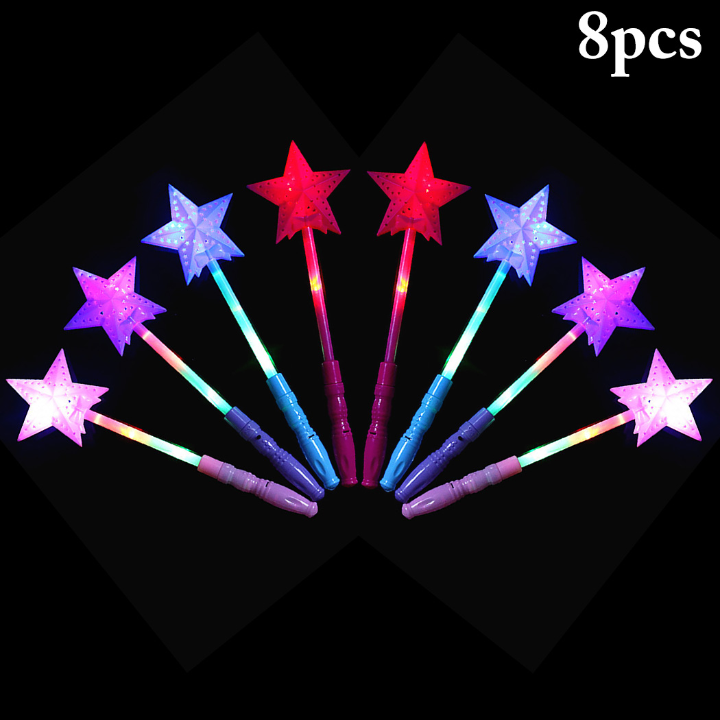 8PCS Party Light Sticks Cute Hollow Star Party Wand Light Up Stick For Concert