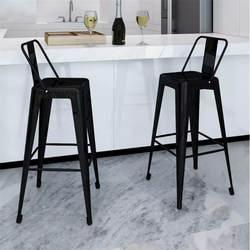 Барные стулья 2 шт. квадратный черный прочный для домашнего офиса