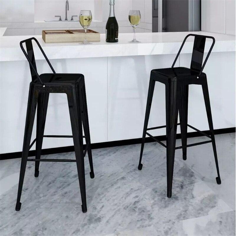 VidaXL ensemble de tabouret de Bar 2 pièces carré noir chaise en acier tabourets de Bar en métal mobilier de Bar moderne décor à la maison
