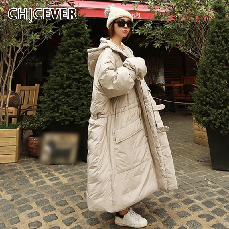 CHICEVER 2018 Winter Women's   Parka   Jackets Female Coat Hooded Loose Oversize Thick Warm Coat Korean Fashion Clothing New