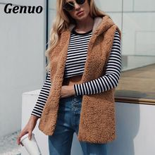 Women Autumn Winter Vintage Faux Lamb Wool Waistcoat Sleeveless Hooded Hoodies Faux Fur Vest Hood Outwear Fur Coat Genuo XXXL цены онлайн
