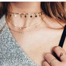 JCYMONG Полный Золотой цвет цепь звезда кулон ожерелье для женщин Bijou простой Boho Мода колье ожерелье Jewlery