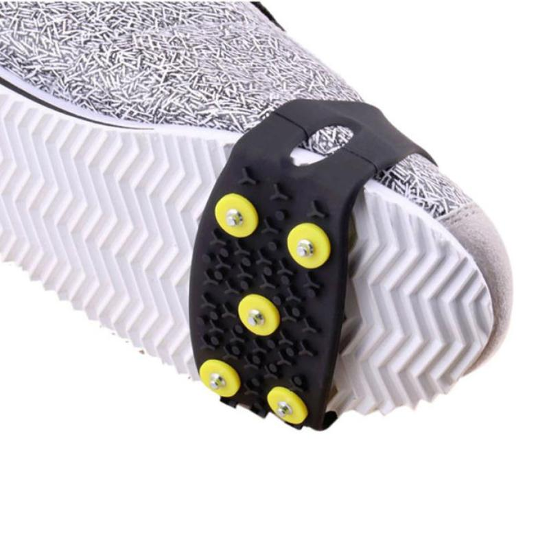 Spikes For Shoes Winter 5-Stud Snow Ice Anti Slip Shoe Spikes Grips Crampon Cleats Camping Hiking Protector