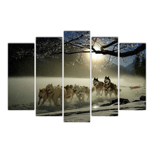 Artwork HD Prints Home Decoration 5 Pieces winter and dogs Wall Art Living Room Pictures Canvas Painting Cairnsi Free Shipping