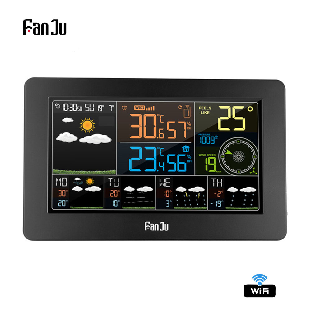 FanJu Wifi Weather Station Wall Digital Alarm Clock Thermometer Hygrometer Future Weather Forecast Wind Direction Barometer FJW4-in Temperature Instruments from Tools    1