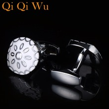 New Simple Style Classic Bussiness Mens Cufflinks Black and white Enamel Jewelry Cufflink  High Quality Free Shipping Qi Wu