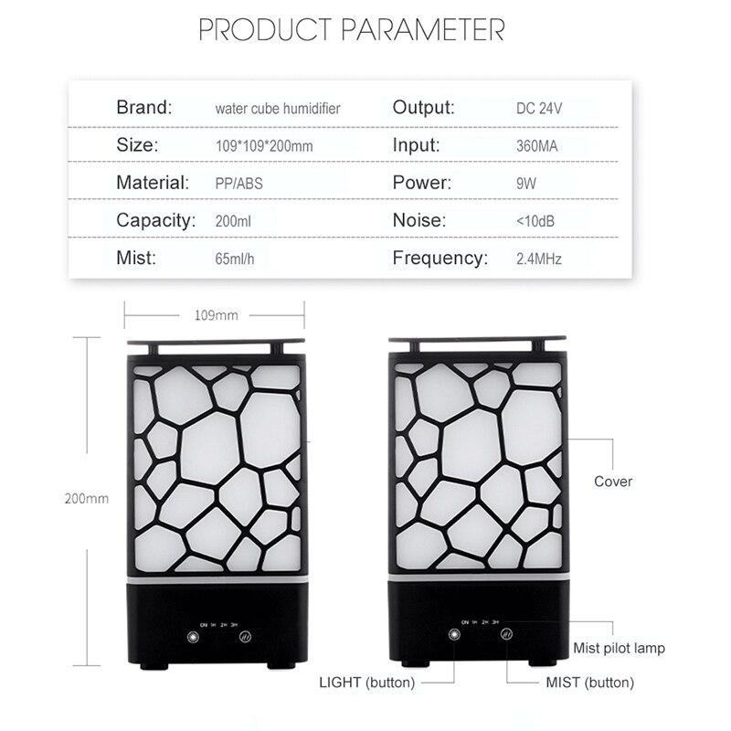 Eu Plug New 200Ml Aroma Essential Oil Diffuser Ultrasonic Air Humidifier Aromatherapy Mist Maker Office Led Lights Aroma Diffu