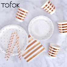Tofok Paper Cake Tray Europe Gilding Disposable Party Tableware Dish Plate Polka Dot Stripe Rose Gold Baby Shower Favors Decor