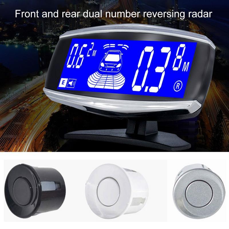 Capteur de stationnement de voiture avant et arrière double écran LCD alarme sonore réglable moniteur de Radar de recul de voiture avec capteurs 4/6/8
