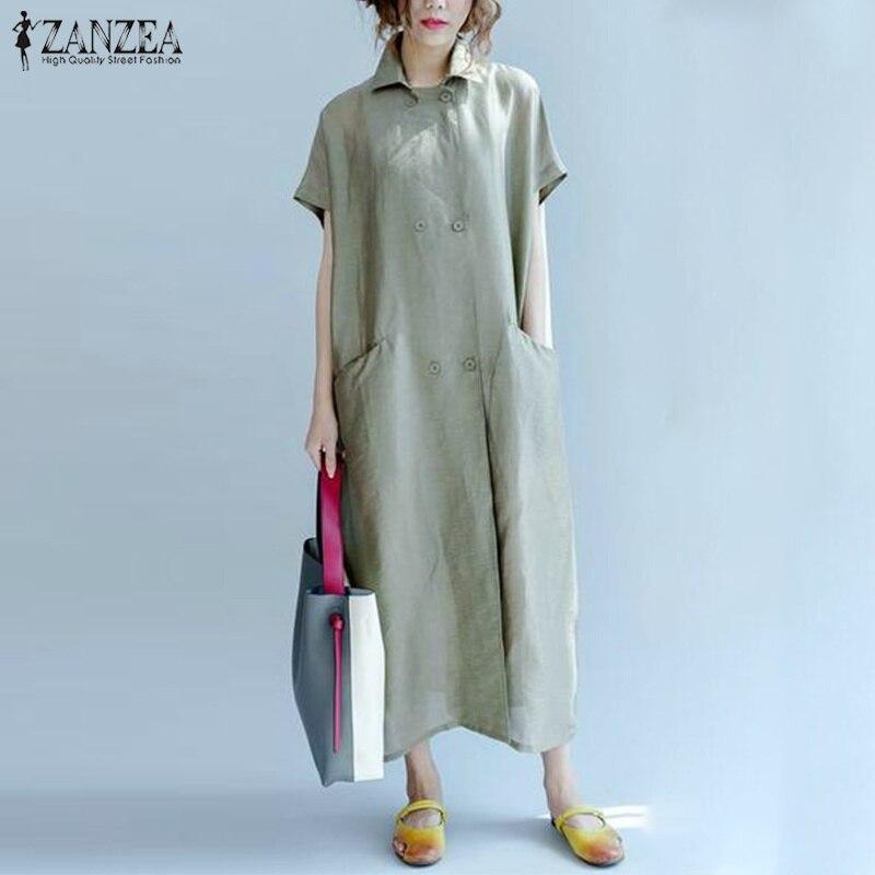 1c85467fd0344 ZANZEA Elegant Women Summer Lapel Neck Short Sleeve Solid Kaftan ...