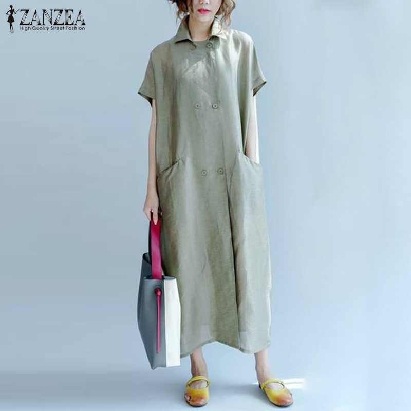 8f79e66bdec8 ZANZEA Double Breasted Shirt Dress Women Casual Runway Summer Maxi Dress  Female Button Vestido Elegant Robe