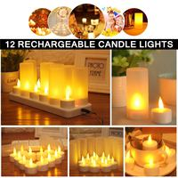 12 Rechargeable Flickering LED Tea Candles Lights With Holder For Dinner Wedding Flame Shaped LED Bulb for Weddings Partys