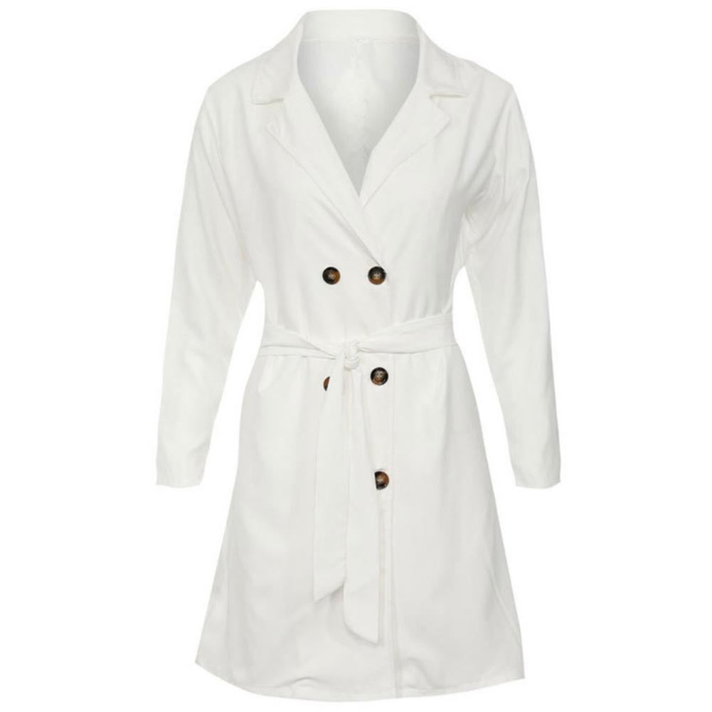 MISSKY Autumn Spring Women   Trench   Solid Color Long Sleeve Double-breasted Windbreaker Coat
