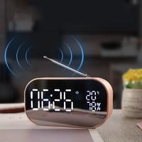 Mirror Design Bluetooth Speaker Wireless Mini Alarm Clock Speaker Car Subwoofer Potable Wireless Speaker Support TF Card