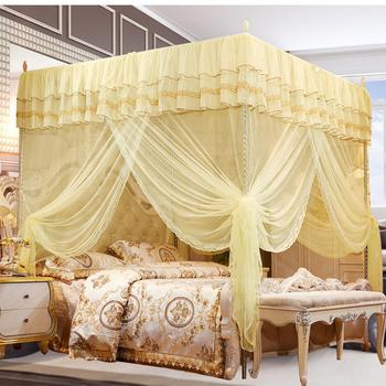 Nowa luksusowa księżniczka trzy otwory baldachim do łóżka z baldachimem Top moskitiera do sypialni tanie i dobre opinie Trzy-drzwi Uniwersalny Czworoboczny Domu Mosquito Net Dorosłych Wisiał dome moskitiera Other Poliester bawełna