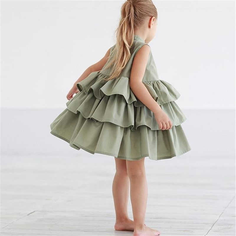 d209363a34 2019 Newborn Kid Baby Girls Party Dress Sleeveless O Neck Cake Ruffled Tutu  Bubble Dresses Summer 1-6T Children Girl Clothes