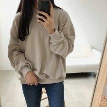 цены на New Arrival Women Basic Solid Sweatshirt Autumn Winter Drop-Shoulder Thin Hoodies Casual O-Neck Loose Tops  в интернет-магазинах