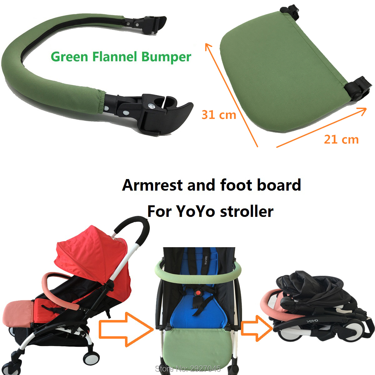 3pcs/set Stroller Accessories Pink Green Black Extend Foot Board And Armrest And Hook For Babyzen Yoyo Yoya Vovo Pram Bumper