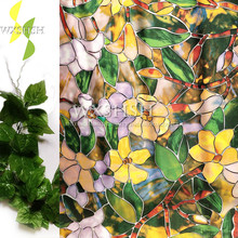 90*200cm color magnolia pattern window decorative film ,self-adhesive electrostatic privacy protection glass stickers,stained
