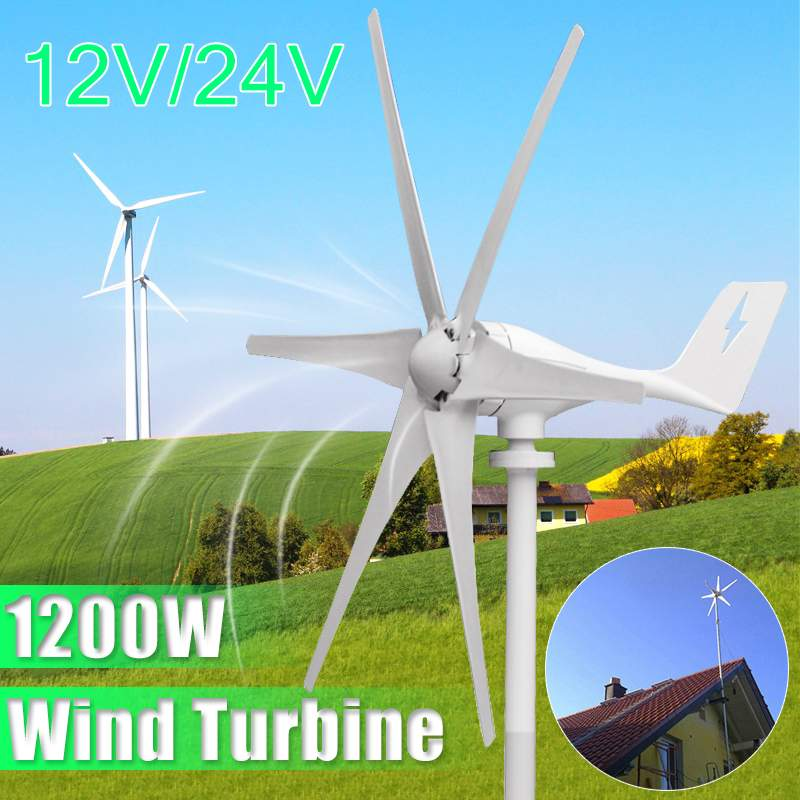 1200W 12V/24V 6 Blades Miniature Wind Power Turbines Residential Home Wind Turbines Generator for Home or Camping1200W 12V/24V 6 Blades Miniature Wind Power Turbines Residential Home Wind Turbines Generator for Home or Camping