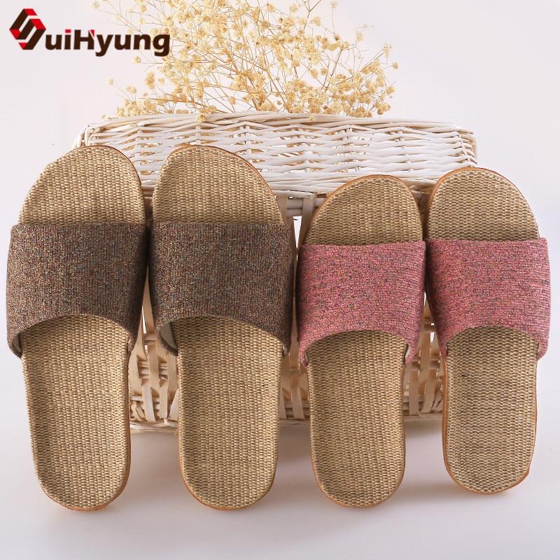 Suihyung Women Men Flax Slippers Summer Indoor Linen Flip Flops Hemp Belt Flat Sandals Ladies Casual Slides Non-slip Beach Shoes
