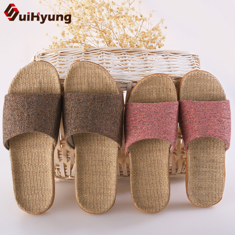 Suihyung Women Men Summer Slippers Soft Flax Indoor Shoes Home Flip Flops Hemp Open Toe Sandals Ladies Flat Slides Beach Shoes