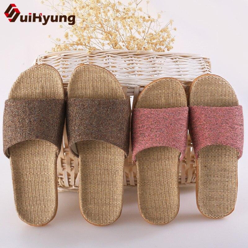 Suihyung Women Men Summer Slippers Soft Flax Indoor Shoes Home Flip Flops Hemp Open Toe Sandals Ladies Flat Slides Beach Shoes