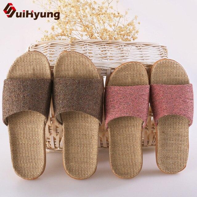 Suihyung/летние льняные тапочки; Разноцветные повседневные домашние тапочки; домашние тапочки для влюбленных женщин и мужчин; тапочки на плоской подошве с открытым носком