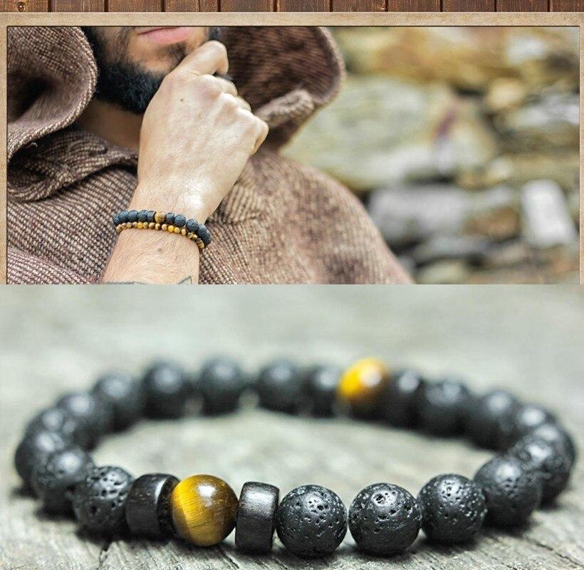 Stone bracelet men Classic High Quality 8mm natural lava /Tiger eye handmade fashion Bead bracelets charm Jewelry male joyas