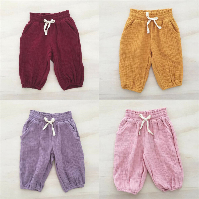 Summer Toddler Baby Kids Girl Pants Solid Casual Wrinkled Bloomers Trousers Leggings Pants One PiecesSummer Toddler Baby Kids Girl Pants Solid Casual Wrinkled Bloomers Trousers Leggings Pants One Pieces