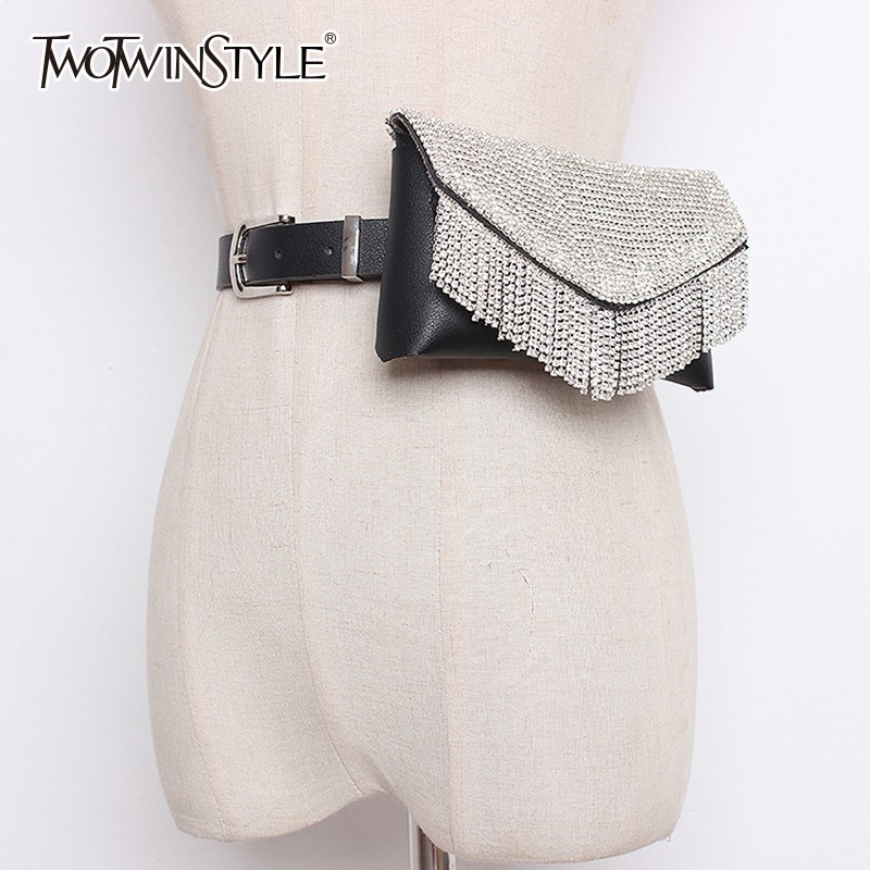 TWOTWINSTYLE Women's Belt For Dresses Patchwork Fur Diamond Small Pocket PU Leather Belt Female Accessories Fashion Tide 2019