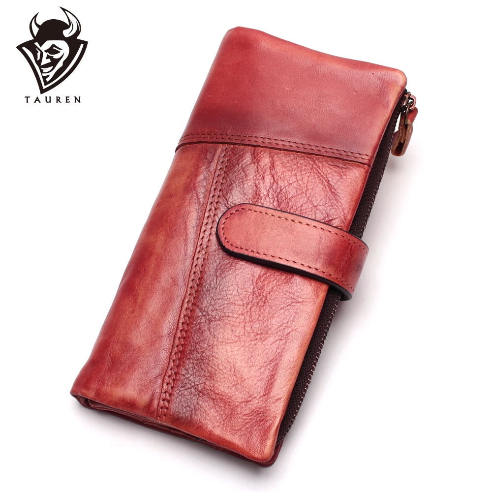 Original Handmade Wallet Retro First Layer Leather Color Long Zipper Stitching Wallet Female Men's Handbag