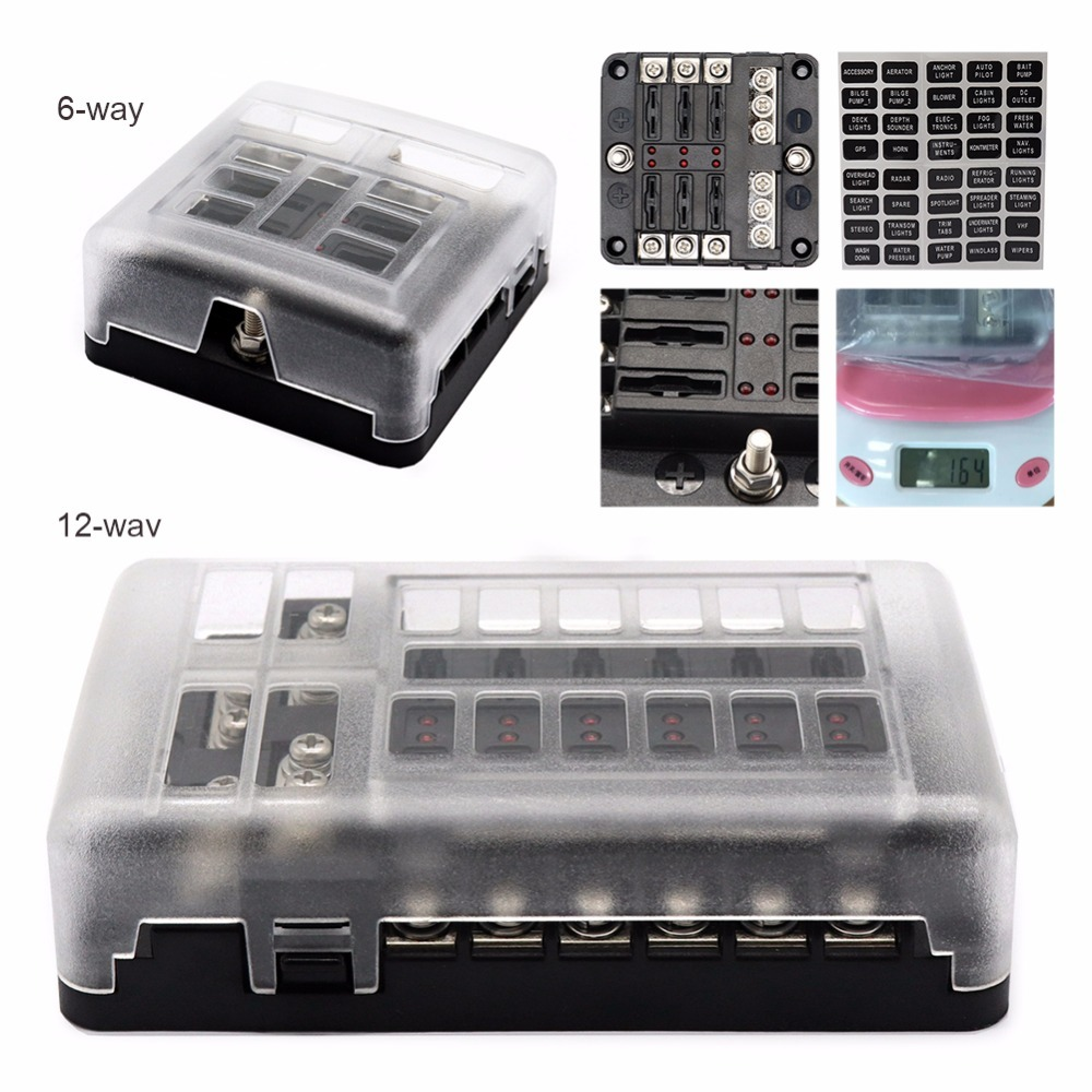 DC 12-32V Truck Motorhome Coach Boat Bus Bar Power Distribution Block Double Busbars 6-way12-way Fuse Box With LED Lights 100AMP