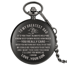 Special Quartz Significant Pocket Watches for Father Black To My Dad Series Pendant Watch Necklace Chain Gift
