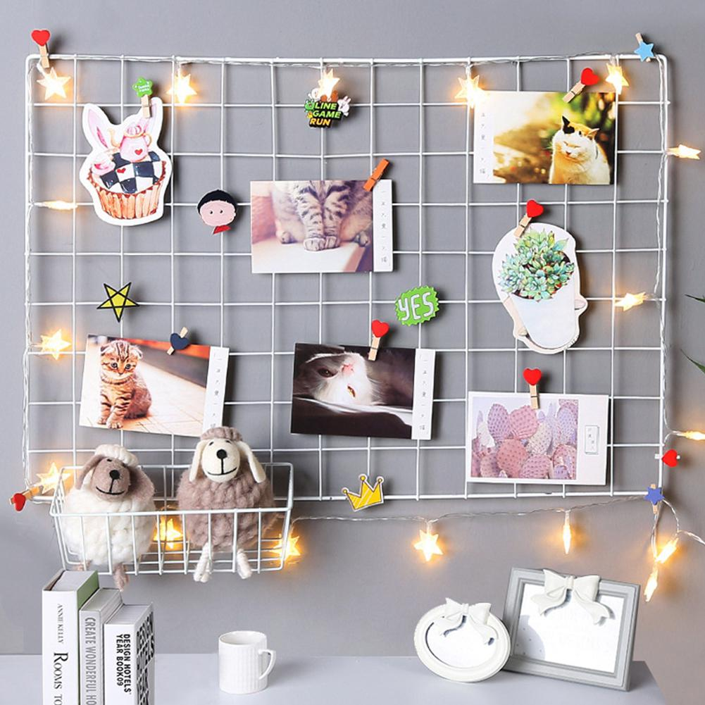 35*35cm Ins Style Metal Grid Wall Postcards Iron Mesh Photos Frame Display Home Bedroom DIY Decoration Square Decorative Shelf