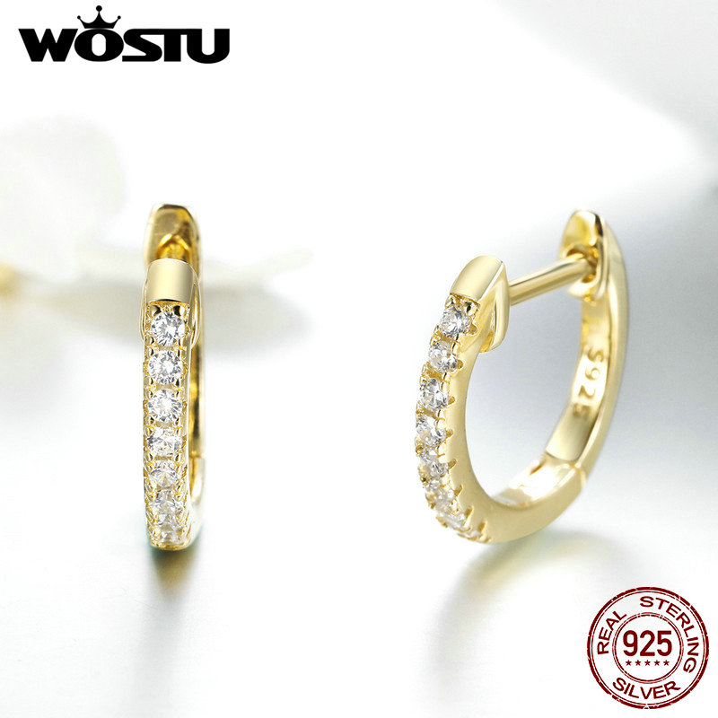 WOSTU Hot Sale 925 Sterling Silver & Gold Color Small Circle Hoop Earrings For Women Birthday Simple Noble Jewelry Gift CQE498 4