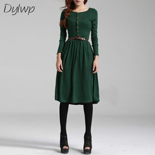 Women Knitted Button Dress 2018 Autumn Winter Women Long Sleeve A Line Midi Dresses Ladies O-Neck Casual Party Dress With Belt цены
