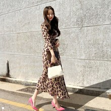 New Fashion Spring Autumn Leopard Print Split Sweater Dress Women V-Neck Long Sleeve Knitted Dresses