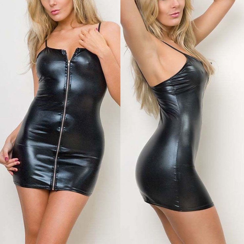 Sexy Women <font><b>PVC</b></font> Leather Zipper Wetlook Night Club Bodycon Party Short Mini <font><b>Dress</b></font> Sleeveless Pencil <font><b>Dress</b></font> image