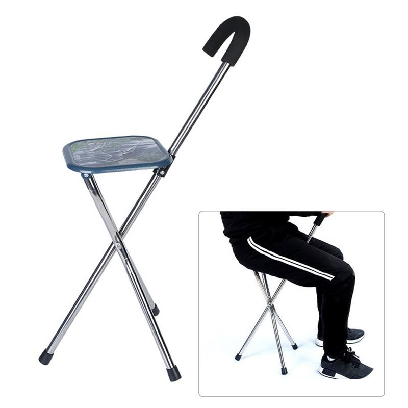 Outdoor Folding Three Foot Crutch Stool Portable Cane Seat Stainless Steel The Elderly Walking Stick with a stool