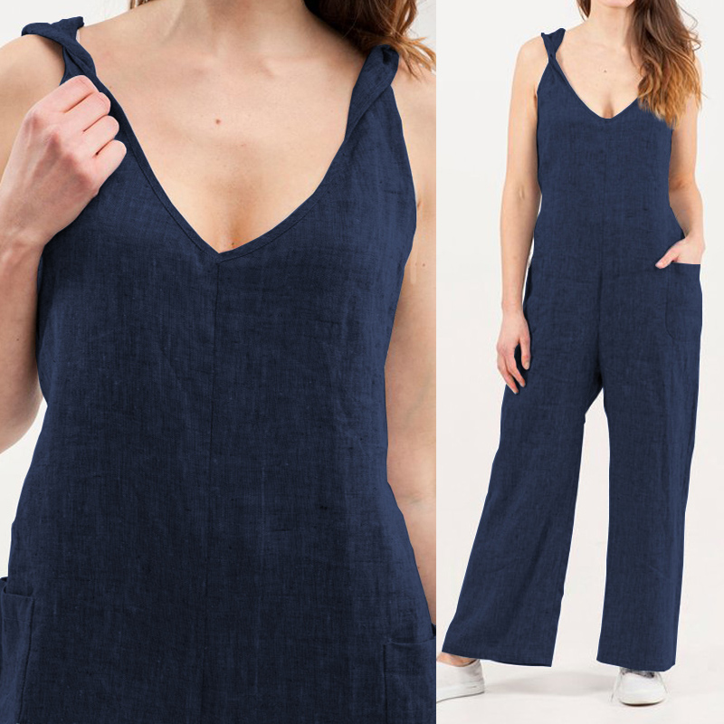 Celmia Plus Size Women   Jumpsuits   2019 Summer Sexy V-neck Strap Sleeveless Backless Casual Loose Pant Vintage Linen Playsuits 5XL