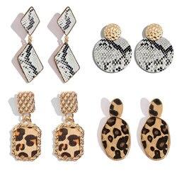 Flatfoosie  Geometric Leopard Drop Earrings For Women Boho Crystal Long Dangle Earring Round Heart Pendant Vintage New Jewelry