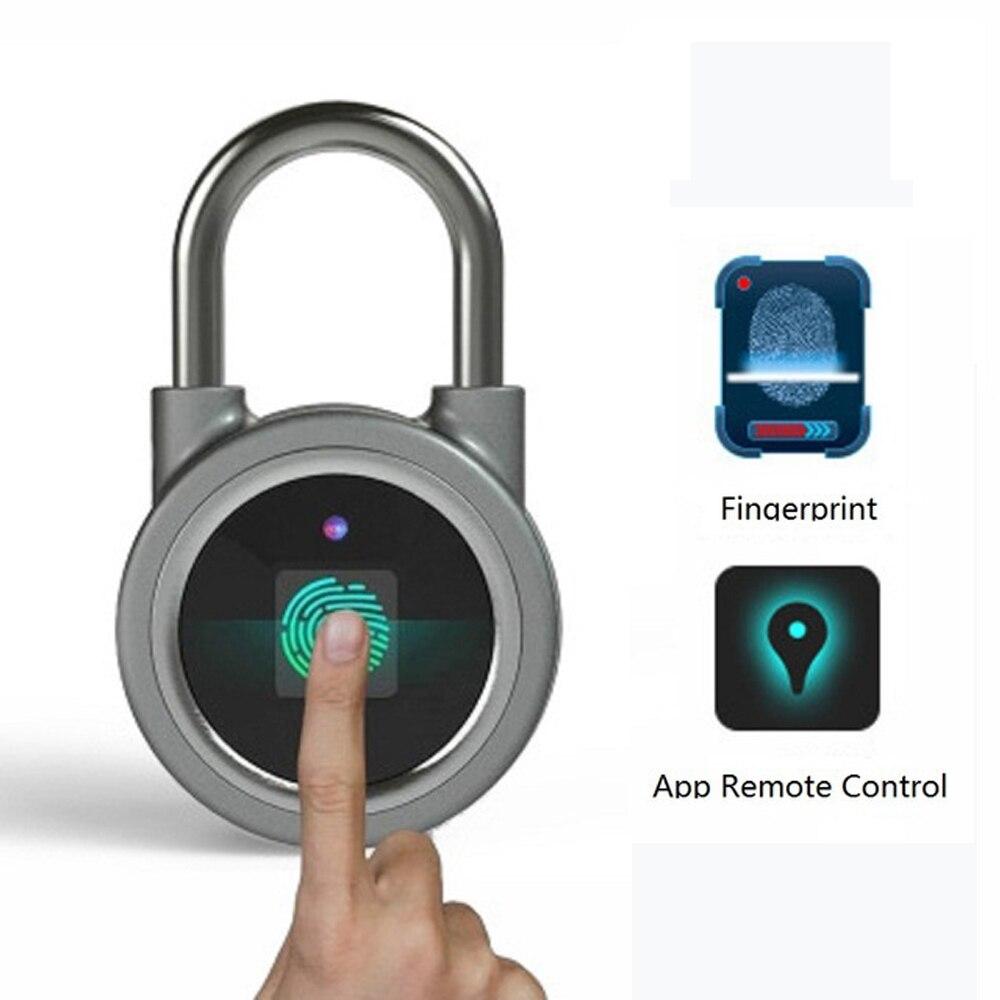 WaterproofIP65 Keyless portable Bluetooth smart Fingerprint Lock padlock Anti Theft iOS Android APP control door cabinet padlock Electric Lock    - title=