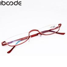 7e6e489688d4 iboode Retro Half Rim Reading Glasses High Quality Metal Frame Eyeglasses  Men Women Oculos De Grau