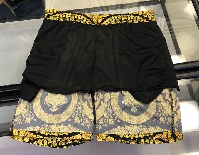 Xxxxl 2019 Nova Marca de Moda Designer Homens Pranchinha Curto Praia Swim Curto Plus Size Coroa Tema Religião Impressão - 3