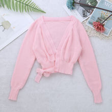 Kids Ballet Knit Wrap Sweater Girls Winter Autumn Warm Sweaters Sweet Long Sleeve Cardigan Warm up Shawl Gymnastics Dance Jacket(China)